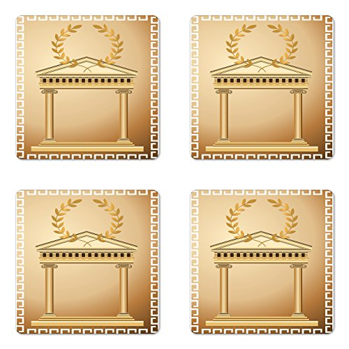 Olive Branch Brown Glass (Ambesonne Toga Party Coaster Set of Four, Antique Temple with Roman Olive Branch and Greek Architecture Motif, Square Hardboard Gloss Coasters for Drinks, Pale Brown and Coffee)