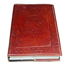 "M&N Celtic Embossed Brown Leather Journal Pocket Style Re-fillable 8""x6"" Blank Pages"