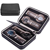 Nasion.V Portable Watch Organizer Box 4 Slots Travel Watch Storage Case Leatherette Zippered Watch Holder Collector Case Jewelry Storage Organizer Box - Black