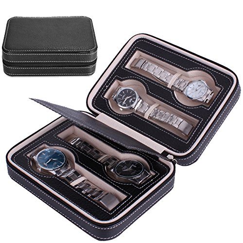 Nasion.V Portable Watch Organizer Box 4 Slots Travel Watch Storage Case Leatherette Zippered Watch Holder Collector Case Jewelry Storage Organizer Box - Black by Nasion.V (Image #7)