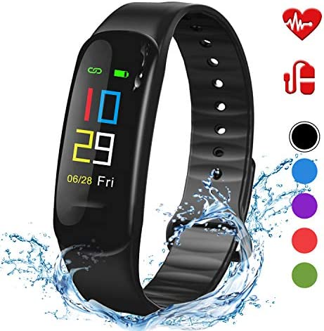 Lintelek Fitness Tracker – Sport Pedometer Odometers Color Screen Watch with Heart Rate Blood Pressure Oxygen Monitor, Step and Calorie Counter IP67 Smart Bracelet Gift for Kids Women and Men