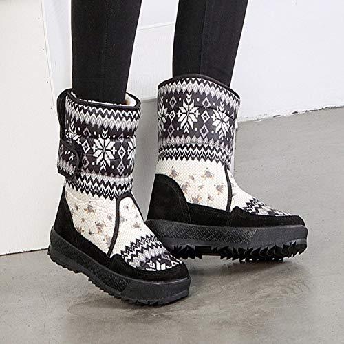 PINGXIANNV Blaumendruck Winterstiefel Damen Wasserdichte Warme Schneeschuhe Damen Wasserdichte Damen Schuhe Frau d1fef6