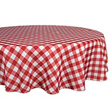 """DII 100% Polyester, Spill proof and Waterproof, Machine Washable, Tablecloth for Outdoor Use, 60"""" Round, Red Check, Seats 4 People"""