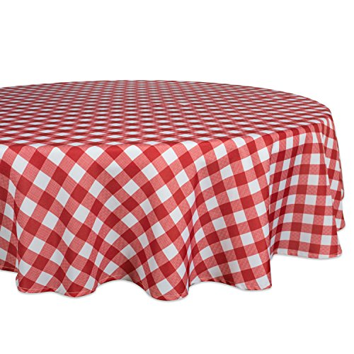 Check Tablecloths Round (DII Spring & Summber Tablecloth, Spill Proof and Waterproof for Outdoor or Indoor Use, Host Backyard Parties, BBQs, Family Gatherings - (60