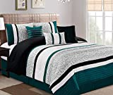 Oversized King Bed in a Bag JBFF 21178 CK Oversize Luxury Stripe (7 Piece) Bed in Bag Microfiber Comforter Set, California King,Teal