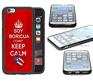 Soy Boricua I Cant Keep Calm Red Back Puerto Rico Flag Frog iPhone 6 (4.7) INCH SCREEN Rubber Silicone TPU Cell Phone Case