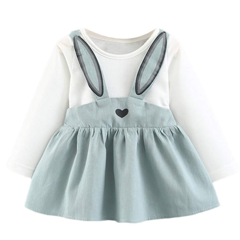 KONFA Teen Toddler Baby Girls Cartoon Rabbit Ears Dress,for 2-6 Years,Little Princess Long Sleeve Skirt Clothes