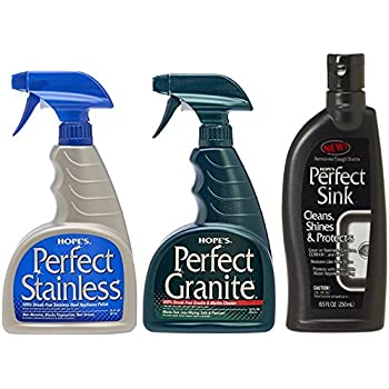 Hopeu0027s Perfect Stainless Steel Polish 22 Ounce, Perfect Granite Cleaner  22 Ounce, U0026 Perfect Sink   8.5 Oz Sink Cleaner And Polish
