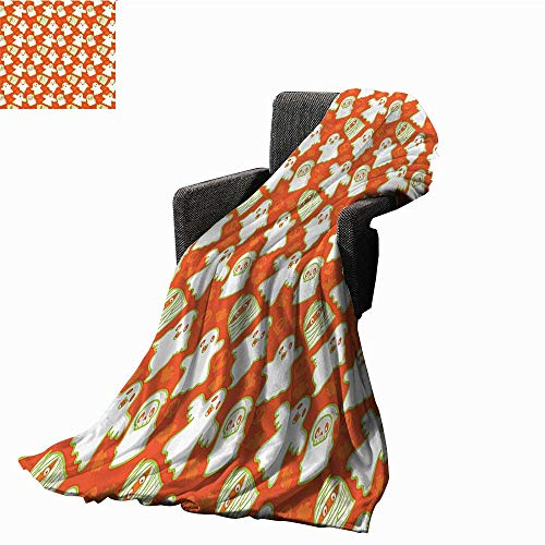 Burnt Orange Decor Collection Blanket Sheets Funny Halloween and Demon Graphic on Skull and Bat Background Design Home Sofa Chair Blanket 71