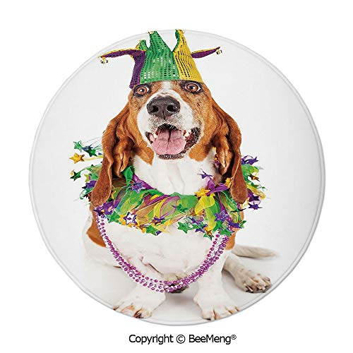 Diameter31 inch,Printing Round Rug,Dragonfly,Mat Non-Slip Soft Entrance Mat Door Floor Rug Area Rug for Chair Living Room,,Mardi Gras,Happy Smiling Basset Hound Dog Wearing a Jester Hat Neck Garland B