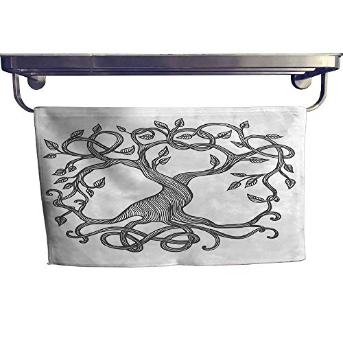 Celtic Sports Towel Set Sketchy Figure of A Single Celtic Tree of Life with Swirly Long Branches and Roots Handkerchief Set W 10