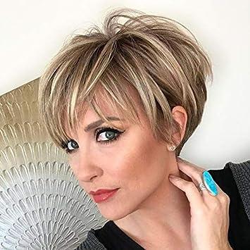 Peluca corta de rubio para mujer, resistente al calor, pelo sintético para uso diario (marrón a rubio peluca corta): Amazon.es: Belleza