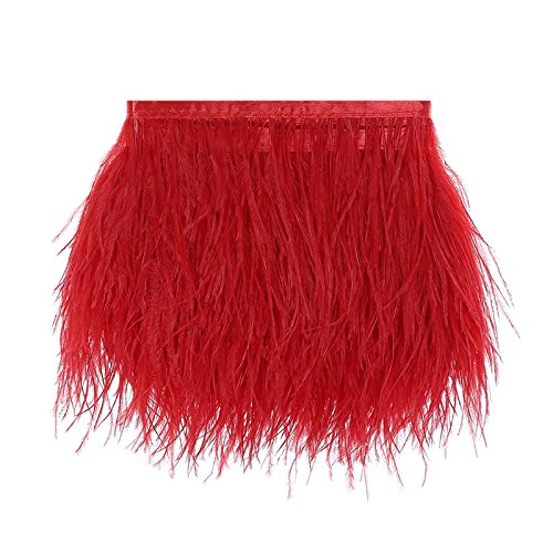 Ostrich Feathers Trims Fringe with Satin Ribbon Tape for Dress Sewing Crafts Costumes Decoration Pack of 2 Yards (Red ()