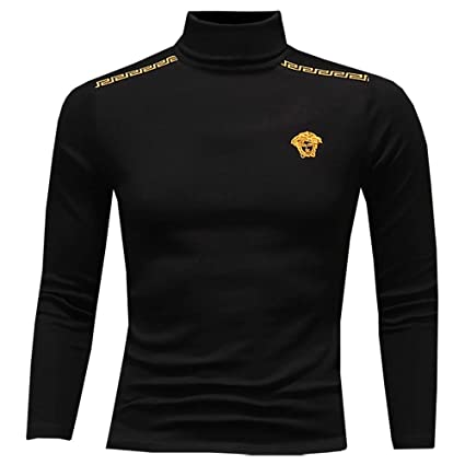 Jersey de manga larga de hombre cálido Hombres Otoño Invierno Pullover Color sólido Cuello alto Camiseta ...