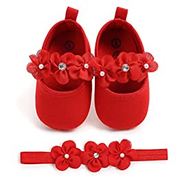 Baby Girls Shoes with Headband Gift Set Toddler Girl Lovely Spring Flower Soft Sole Anti-Slip Sneakers Princess Shoes