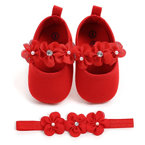 Festa Per 2 Morbido Battesimo Fascia Speciali La Scarpe Occasioni Anti Rosso Fiore Neonata Bambino Pezzi Scivolo Nuziale xxRwqFg6S