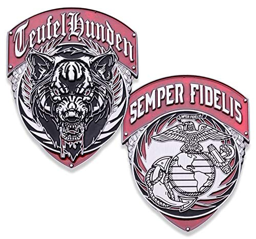 USMC Teufel Hunden Challenge Coin - US Marine Corps Military Coins - Designed by Marine Corps Veterans - Officially Licensed ()
