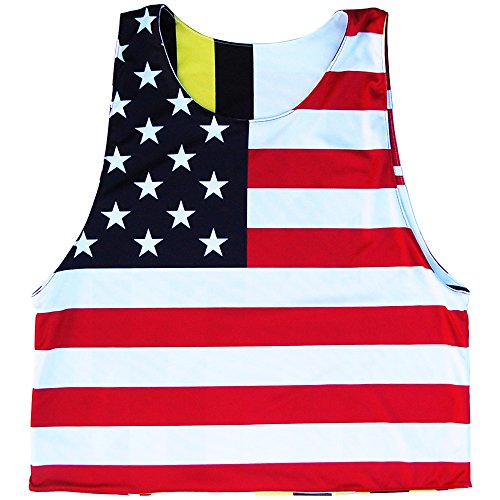 Maryland Flag & American Flag Lacrosse Pinnie, Red, Youth Medium