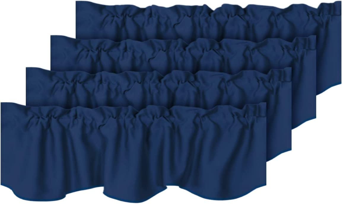 H.VERSAILTEX Privacy Protection Kitchen Valances for Windows Room Darkening Curtain Valances for Bedroom, Rod Pocket Top, 4 Pack, Navy, 52 x 18 Inch