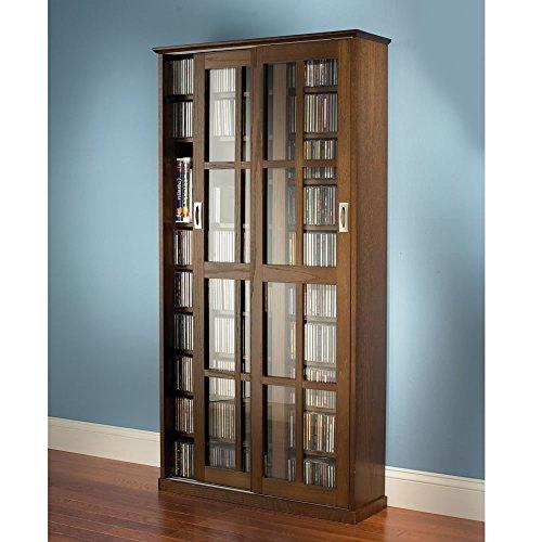 The Sliding Door 1,044 CD/468 DVD Library (Oak Finish) by Hammacher Schlemmer