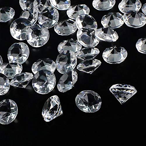 Outuxed 300pcs 20mm Clear Wedding Table Scattering Crystals Acrylic Diamonds Gemstones Wedding Bridal Shower Party Decorations Vase Fillers, 1.5 LB, with 1 Large Velvet (Crystal Table Decoration)
