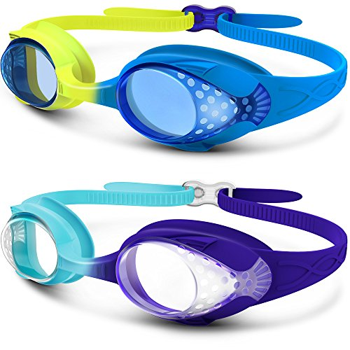 (OutdoorMaster Kids Swimming Goggles - Fun Fish Style Children (Age 4-12) Leakproof Design, Shatterproof Anti-Fog Lens & Quick Adjustment Clasp - 100% UV Protection Blue+Yellow)