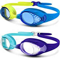 2-Pack OutdoorMaster Kids Swimming Goggles with Shatterproof Anti-Fog Lens (Yellow/Teal + Ocean Blue/Purple)