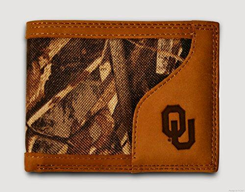 Oklahoma Sooners Bi-fold Realtree Max-5 Camo & Leather Wallet w/ Imprinted OU Logo - Zep-Pro - NCAA