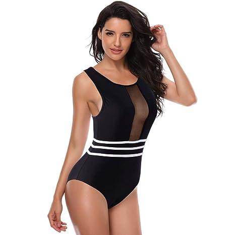 e0aa08ba0e8b4 general3 Women One Piece Swimsuit High Neck Mesh Striped Racerback Zip Up  Monokini Swimwear Bathing Suit at Amazon Women s Clothing store