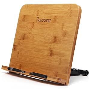 Reodoeer Large Size BamBoo Book Stand (13 x 9.3 inch) Reading Rest Cookbook Stand Document Holder for Kitchen & Office