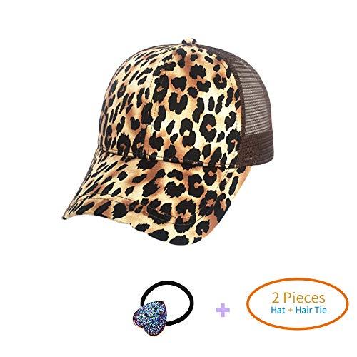 HADM Faux Suede Leopard Print Fabric Ponytail Baseball Cap Hat Ponycap Messy Bun Mesh Trucker Hats for Women + Head Rope