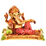 Handicraft homedecor synthetic ganesh ji showpiece statue (10 Cms x 4.5 Cms x 8 Cms, Multi-Color)