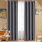 Fairyland Blackout Curtains Room Darkening Thermal Insulated Drapes for Living/Beding Room, 2 Panels (52*63inch, Dark Grey)
