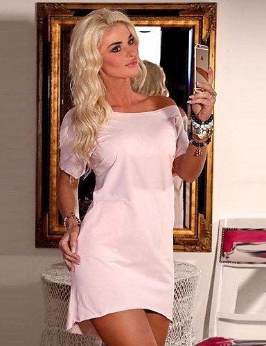 PU&PU Robe Aux femmes Gaine Sexy / Simple,Imprimé Col Arrondi Au dessus du genou Coton , pink-l , pink-l