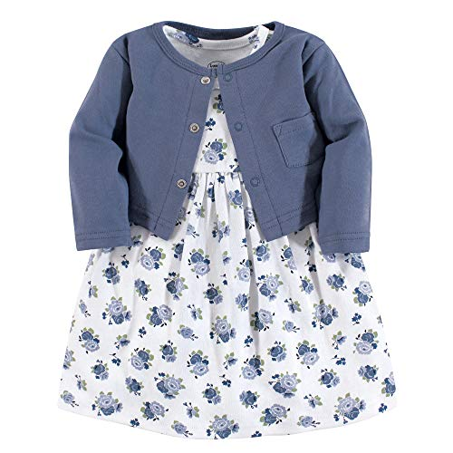 Luvable Friends Baby Girls Dress and Cardigan Set, Blue Floral, 9-12 Months (12M)