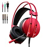 PC Gaming Headset with Mic, 3.5mm Over-Ear Headphones with Water-cool LED Light, 7.1 Stereo Sound Earphone with 50mm Driver for New Xbox One PS4 Cellphone Laptop Computer (M9-Red)