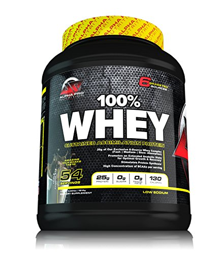 Grass Fed WHEY Protein ALPHA PRO, 100% Whey, NEW ITEM, Alpha Pro Nutrition, Sustained Assimilation Pro, Rich in BCAA, NO ASPARTAME, 6 WHEY Sources, No Soy No Egg No Wheat, Grassfed, Chocolate Shake by Alpha Pro Nutrition