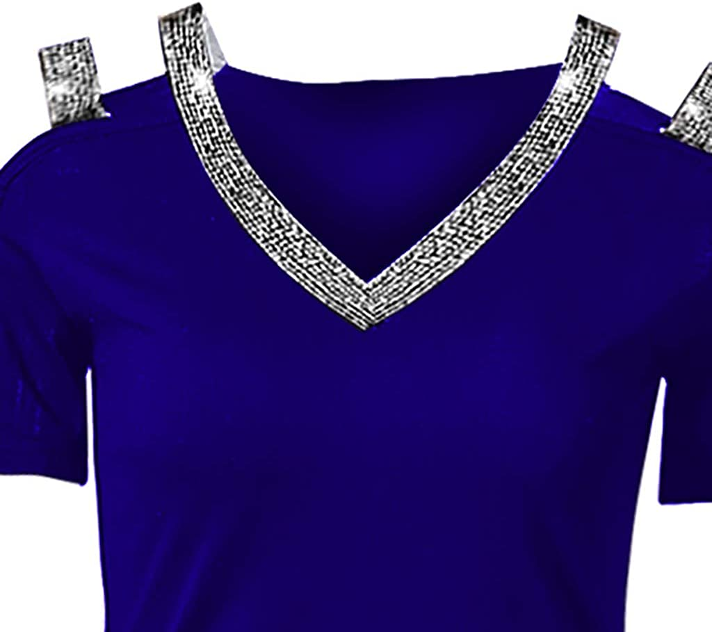 Womens V Neck Strappy Cold Shoulder Blouse Long Sleeve Rhinestones T-Shirt Cut Out Ripped Top