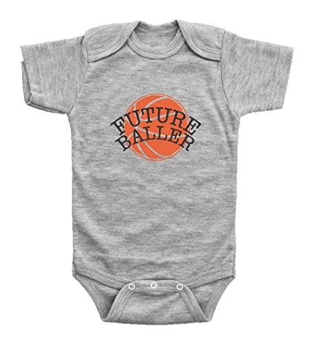 FUTURE BALLER / Humor Baby Basketball Onesie for Boys or Girls / Bodysuit / Baffle (6mo, Grey Short Sleeve) -
