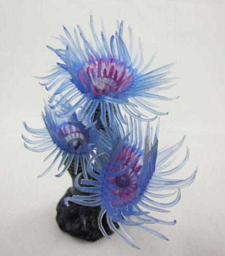 Aquarium Fish Tank Silicone Sea Anemone Artificial Coral Ornament MI202Blue