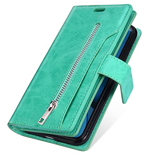 Price comparison product image MoreChioce Compatible with Galaxy A70 Case, Galaxy A70 Zipper Leather Case,  Luxury Premium Synthetic Leather Multifunction Zipper Pocket Design [9 Card Slots] Wallet Flip Case, (Green)