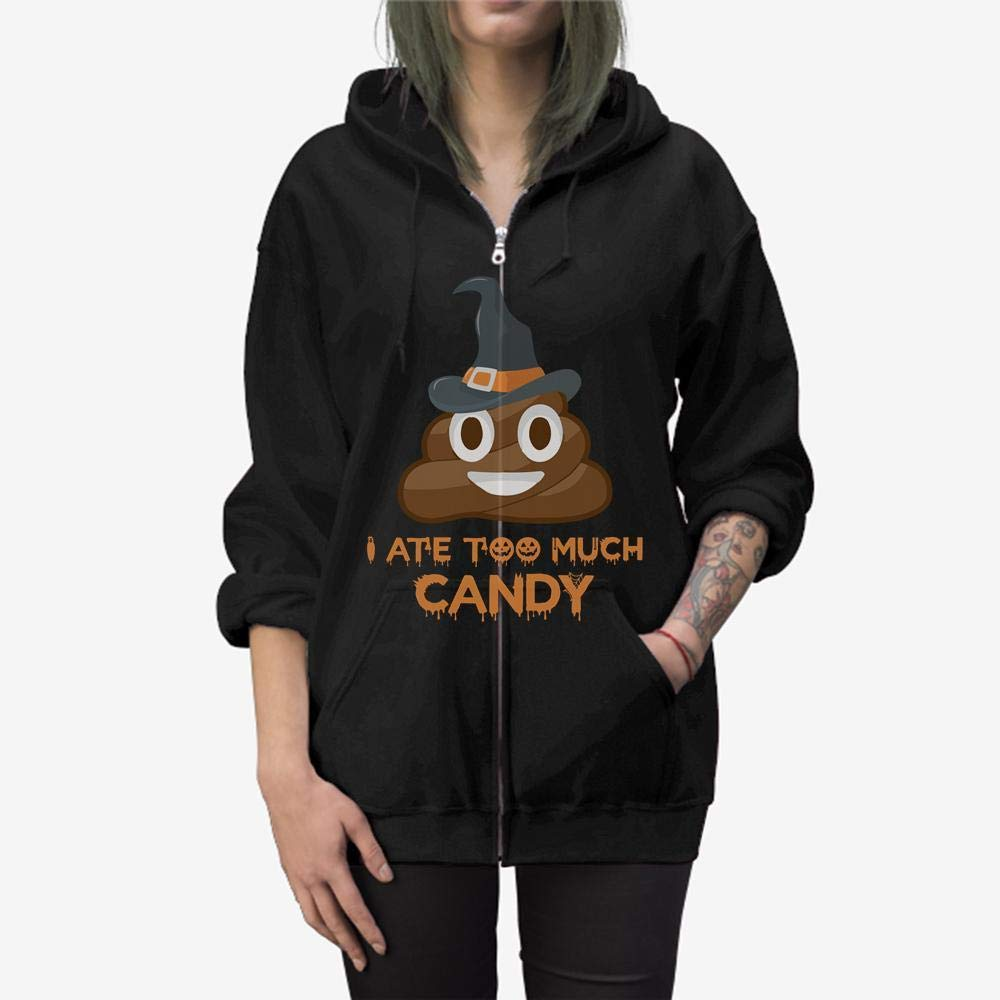 Doryti I Ate Too Much Candy Halloween Witch Zip Hooded Sweatshirt