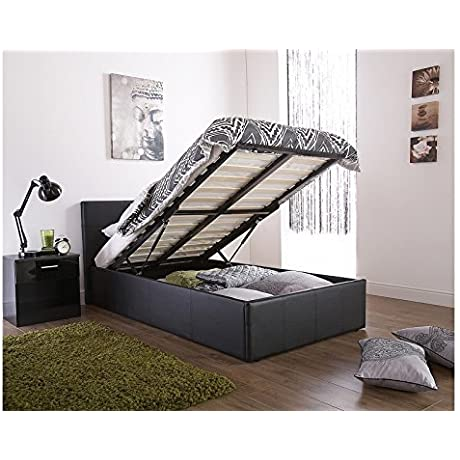 Caspian Ottoman Gas Lift Up Storage Bed Black 4ft6 Double By Right Deals UK