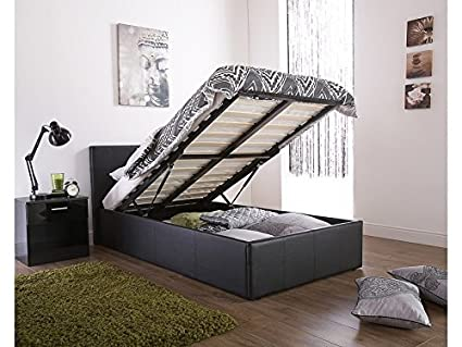 Brilliant Amazon Com Caspian Ottoman Gas Lift Up Storage Bed Black Short Links Chair Design For Home Short Linksinfo