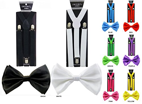 Many Colors Available Enimay Combo Pack Suspenders /& Bow Ties
