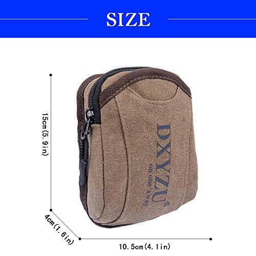 udiy alta calidad lona multifuncional riñonera dinero cinturón riñonera bolsa riñonera corredores paquete para viaje vacaciones Hook type Brown