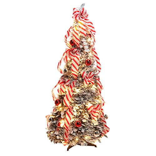 4' Snow Frosted Candy Cane Pull-Up Tree