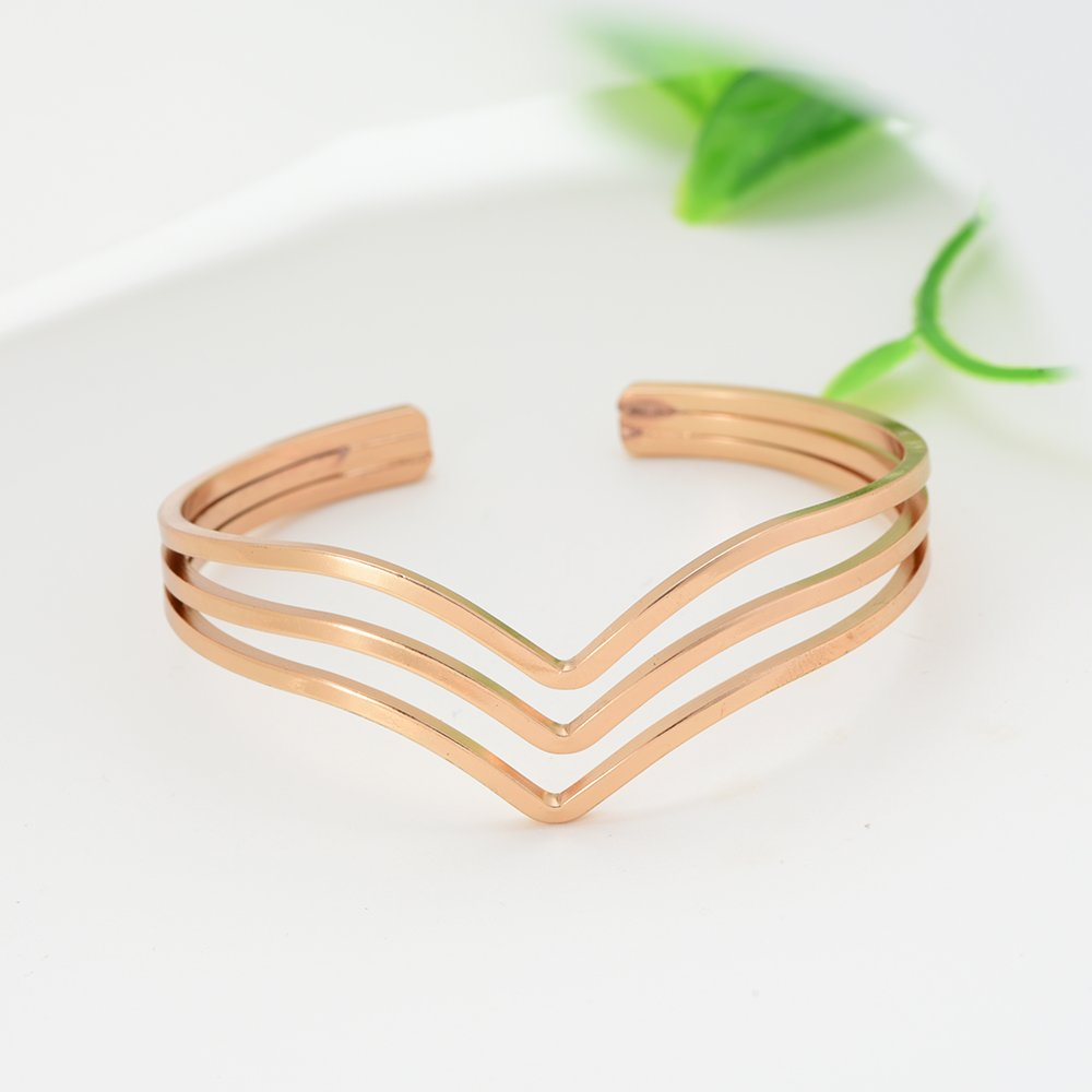 SJ SHI JUN Three Wire Mountain Shpaed Rose Gold Bangle Bracelets for Women Girls Teen