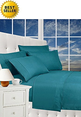 Luxurious Bed Sheets Set on Amazon! Celine Linen1800 Thread Count Egyptian Quality Wrinkle Free 4-Piece Sheet Set with Deep Pockets 100% Hypoallergenic, Full Turquoise