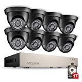 Upgraded 8-Channel 720P Home Security Camera System DVR with 1TB Hard Drive and 8 x 1280TVL Indoor Outdoor Weatherproof CCTV Dome Cameras with Customizable Motion Detection and Remote viewing